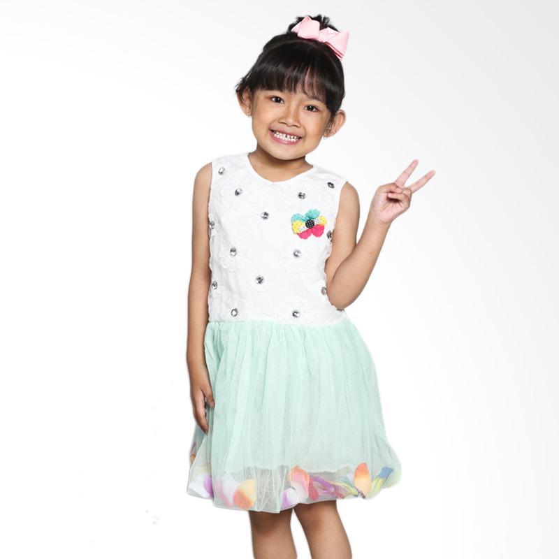 4 You Diamond Flower Dress - Hijau