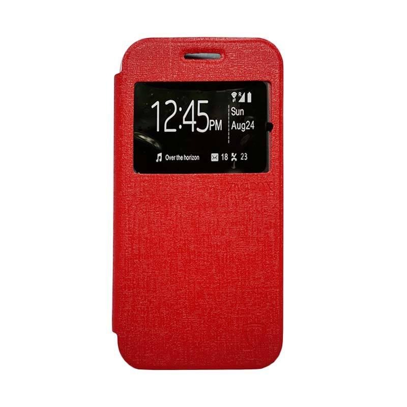 Zagbox Flip Cover Casing for Oppo F1 - Merah