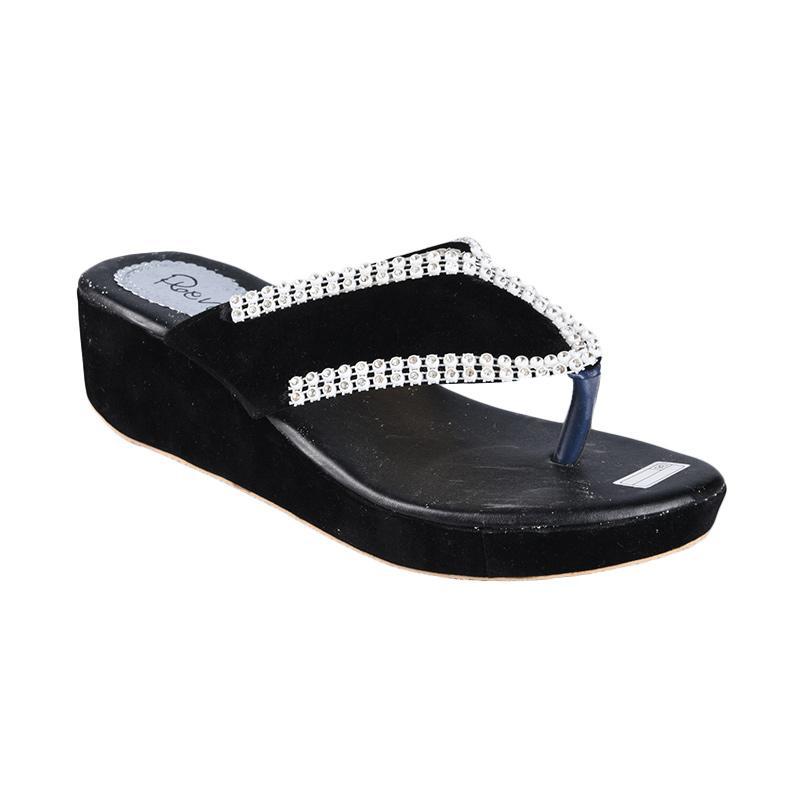 Rena SN-222 Sandal Wedges Wanita - Hitam