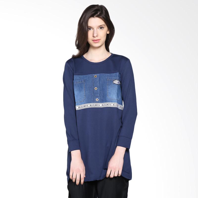 Carte Denim Long Sleeve Blouse - Navy Blue