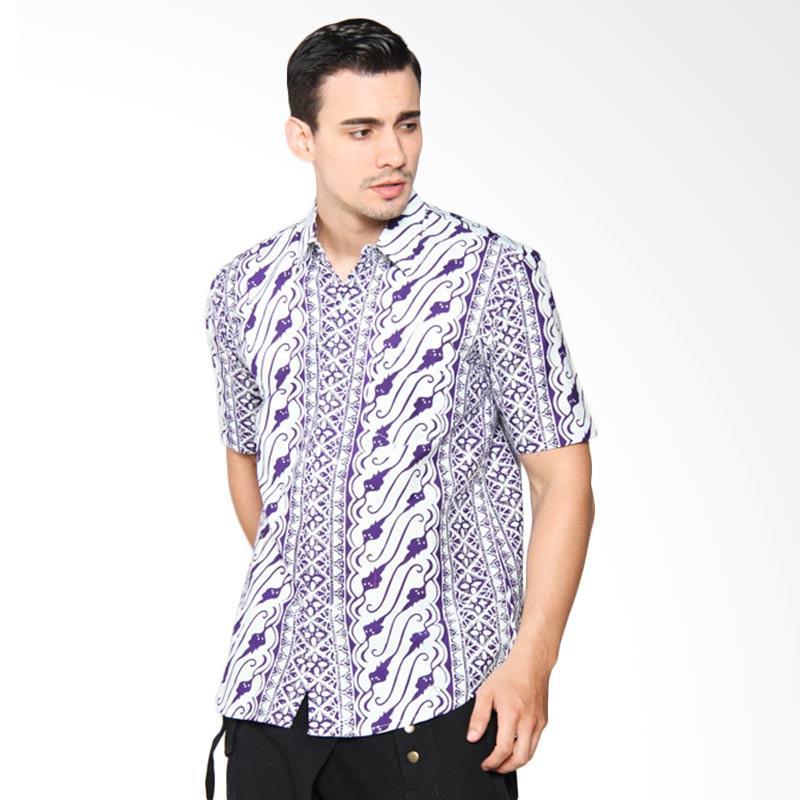 Blitique Asana Parang Slim Fit Kemeja Batik Pria - Purple 1C