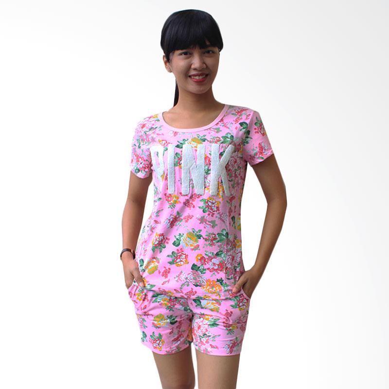 Aily 6581 Flowery Setelan Baju Tidur Wanita - Pink
