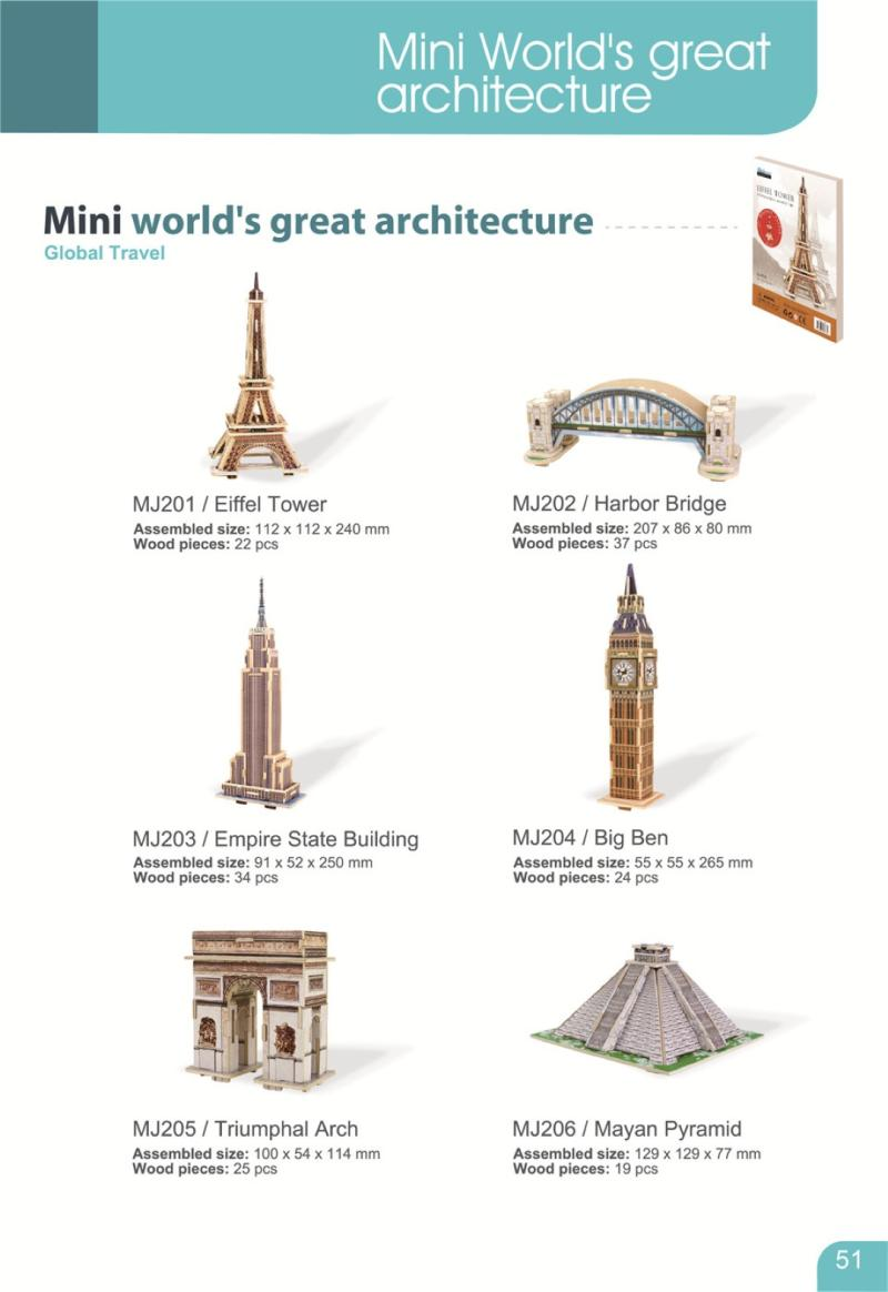 ROBOTIME MJ404 Mini World Architecture Series Notre Dame de Paris Puzzle - Multicolor