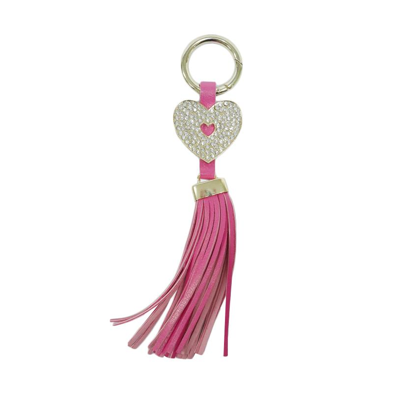 SIV GT-HK04 Rumbai Hati Plus Manik Keychain Gantungan Kunci - Dark Pink