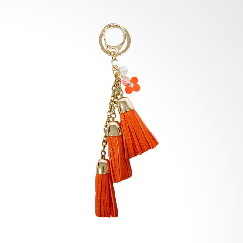 SIV Key Chain KM02 Rumbai 3 Tingkat plus Bunga Gantungan Kunci - Orange