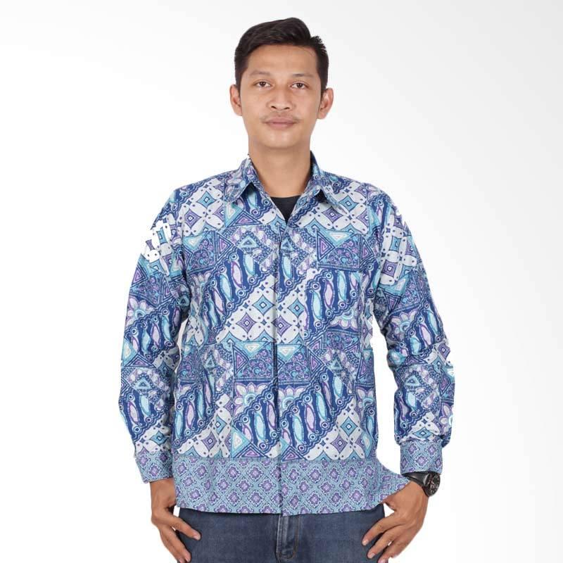 Batik Putri Ayu Solo Kemeja Batik Pria - Biru KPJ202