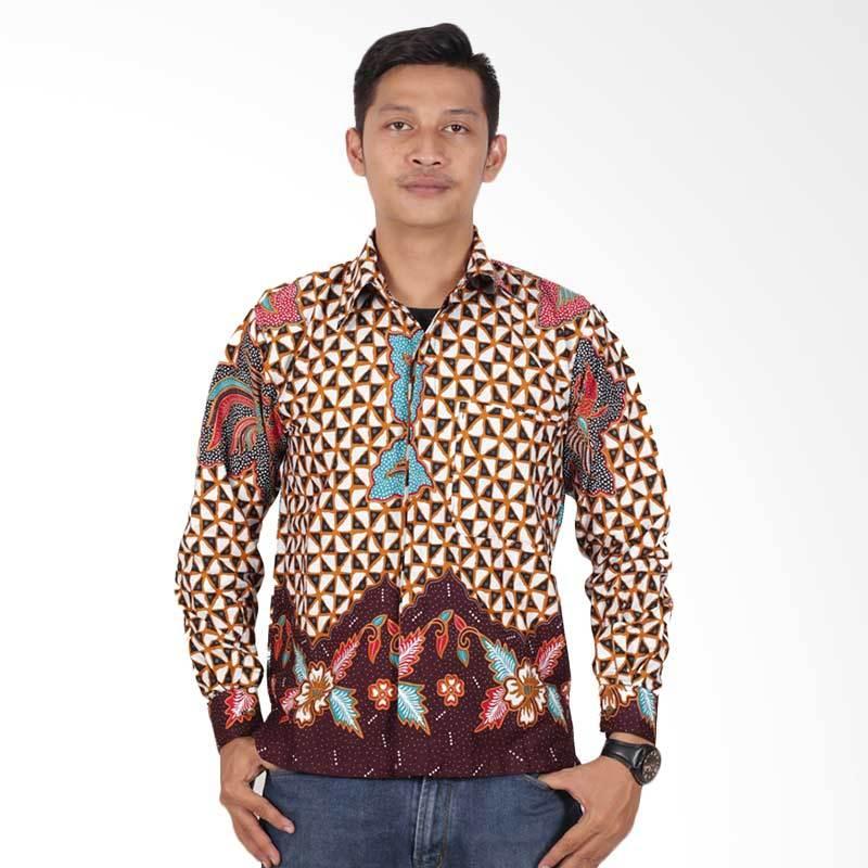 Batik Putri Ayu Solo Lengan Panjang Kemeja Batik Pria - Cokelat KPJ203