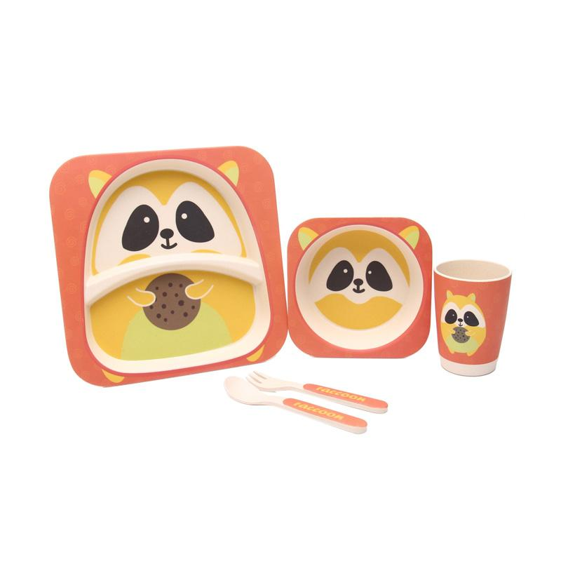 HAN AYC Bamboo Fiber Kids Set Dinnerware Peralatan Makan Anak Dari Serat Bambu Racoon - Multicolor