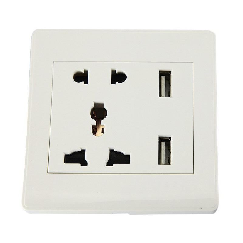 Universal Two USB Port Stop Kontak for UK/EU/US - White