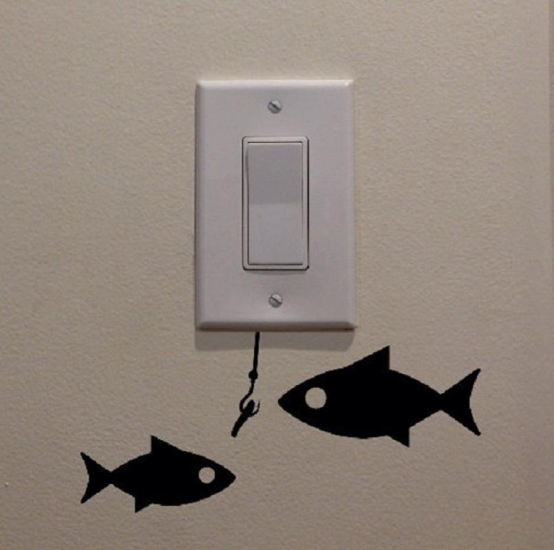 OEM Motif Memancing Ikan Decal Dekorasi Tombol Lampu Saklar Wall Sticker - Hitam