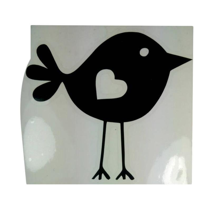 OEM Motif Burung Love Unik Dekorasi Tombol Lampu Saklar Wall Sticker - Hitam