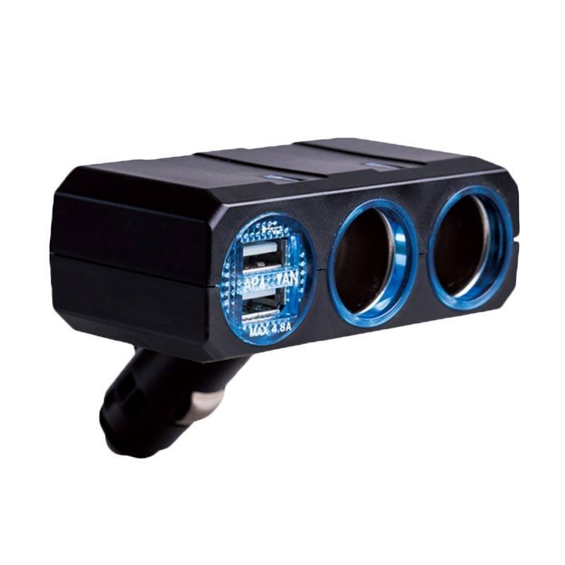 SIV PZ-710B Car Charger - Black [2 Way Socket/ 2 USB Port]