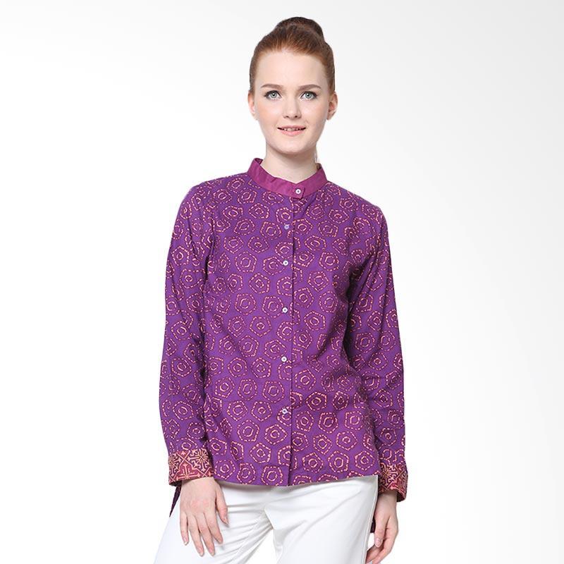 Days by Danarhadi Women Jumput Segi Warna Eggplant Slit Long Sleeves Shirt Kemeja Batik Wanita - Purple