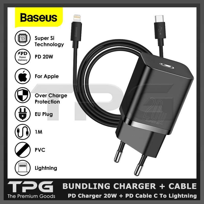 BASEUS CHARGER 20W PD KABEL DATA TYPE C LIGHTNING FAST CHARGING IPHONE