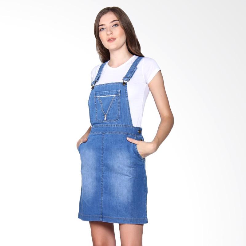 Miracle Online Shop Overall Jeans Dress Mini - Biru Muda