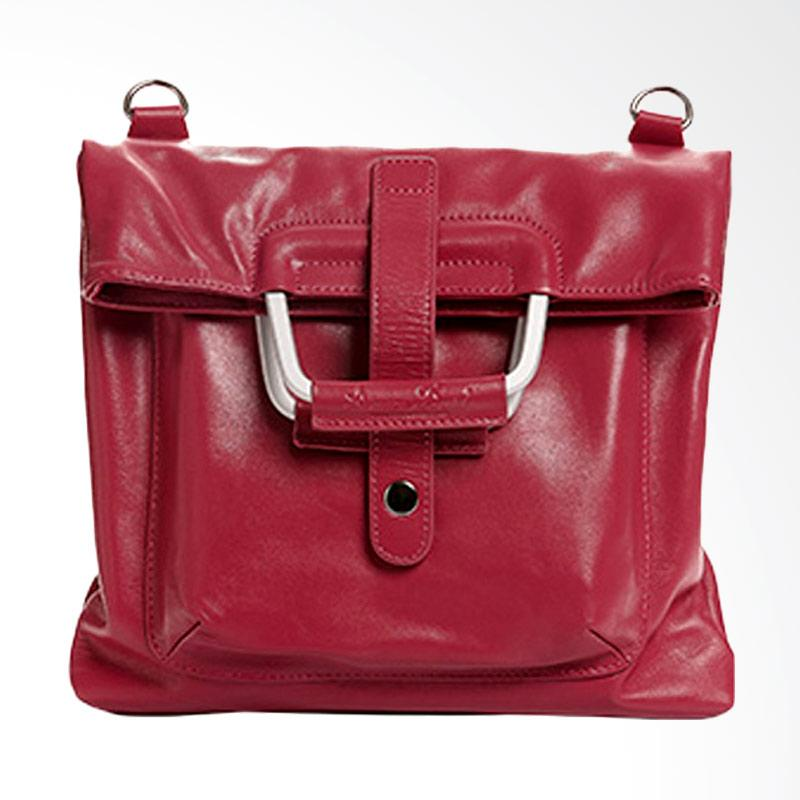 Amore Daniel Leather Patt A4 Multifunction Hand Bag - Fuschia