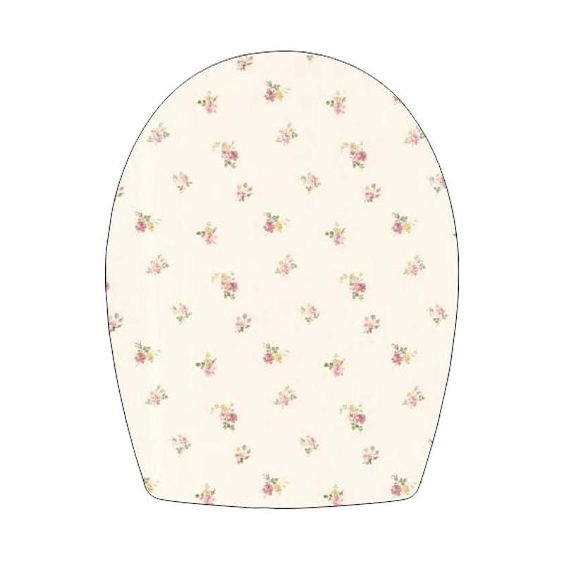 Epinidithouse Shabby Mawar Krem Stiker Tutup Closet Duduk Toilet Cover