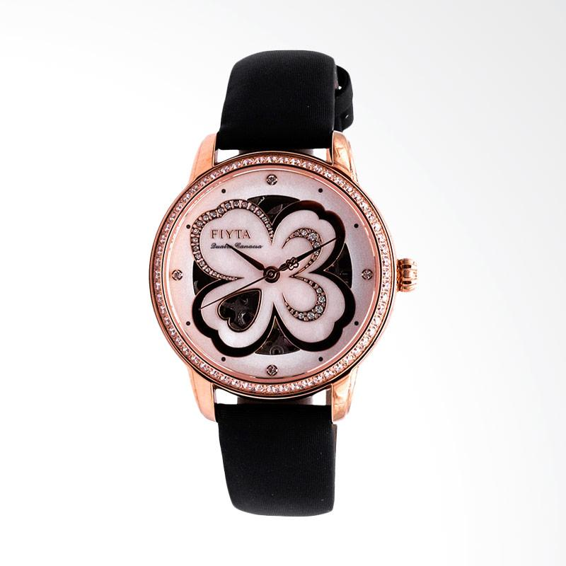 FIYTA  LA862003.PWBD Ladies Clover Rhinestone Dial Black Leather Strap Jam Tangan Wanita - Black