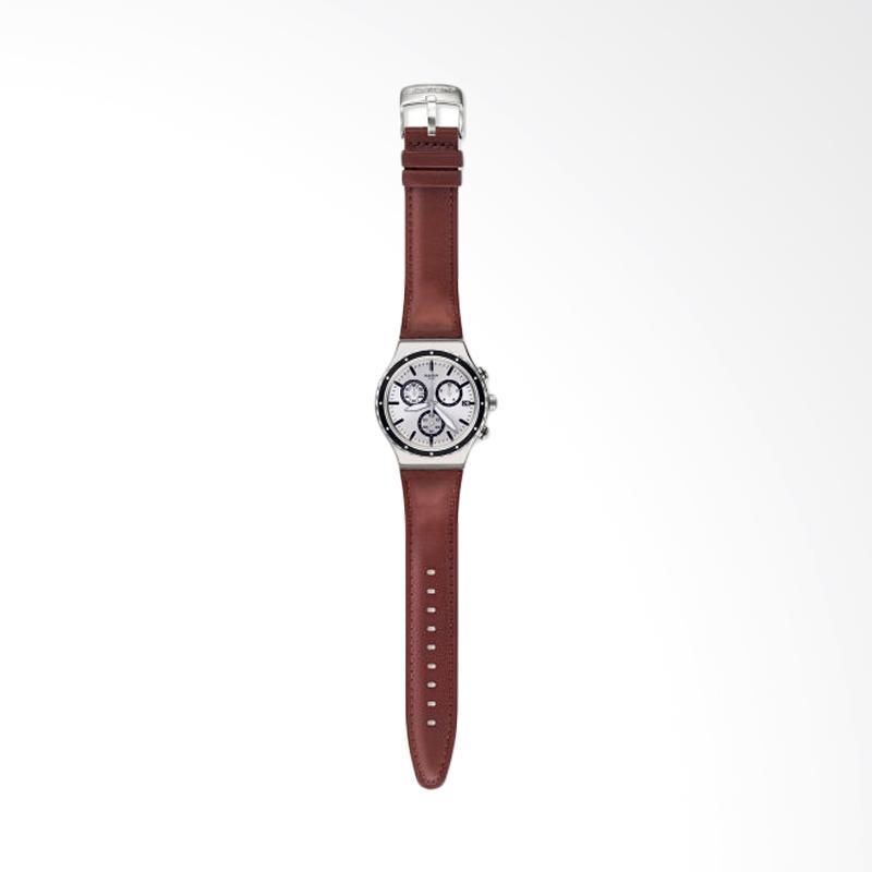 Swatch Bahan Tali Leather Grandino Chronograph Jam Tangan Pria - Coklat YVS437