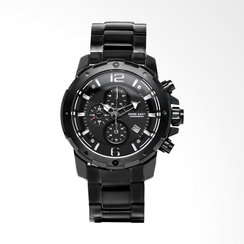 Swiss NavyChronograph Black Dial Black Stainless Steel Jam Tangan Pria - Black 6820MABBK