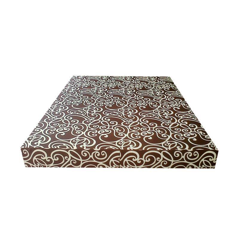 Inoac Motif Tralis Coklat Kasur Busa No 2 [200 x 160 x 20 cm]