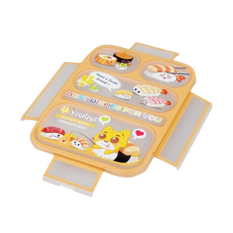 Yooyee 590 Grid Bento Kotak Makan - Orange [Sekat 5]
