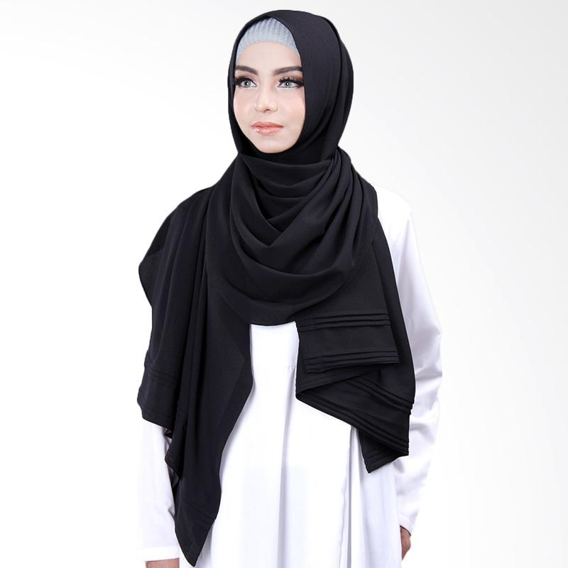 Cantik Kerudung Khloe Pleated Shawl Jilbab Instant - No.8 Black
