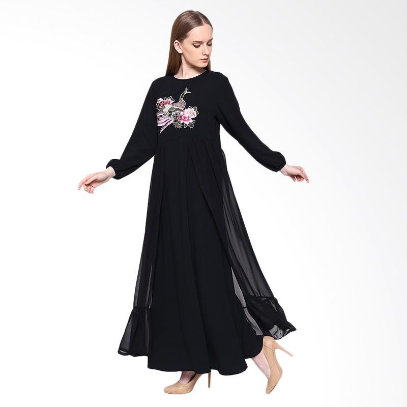 Delarosa Party in Black with Embroider Dress