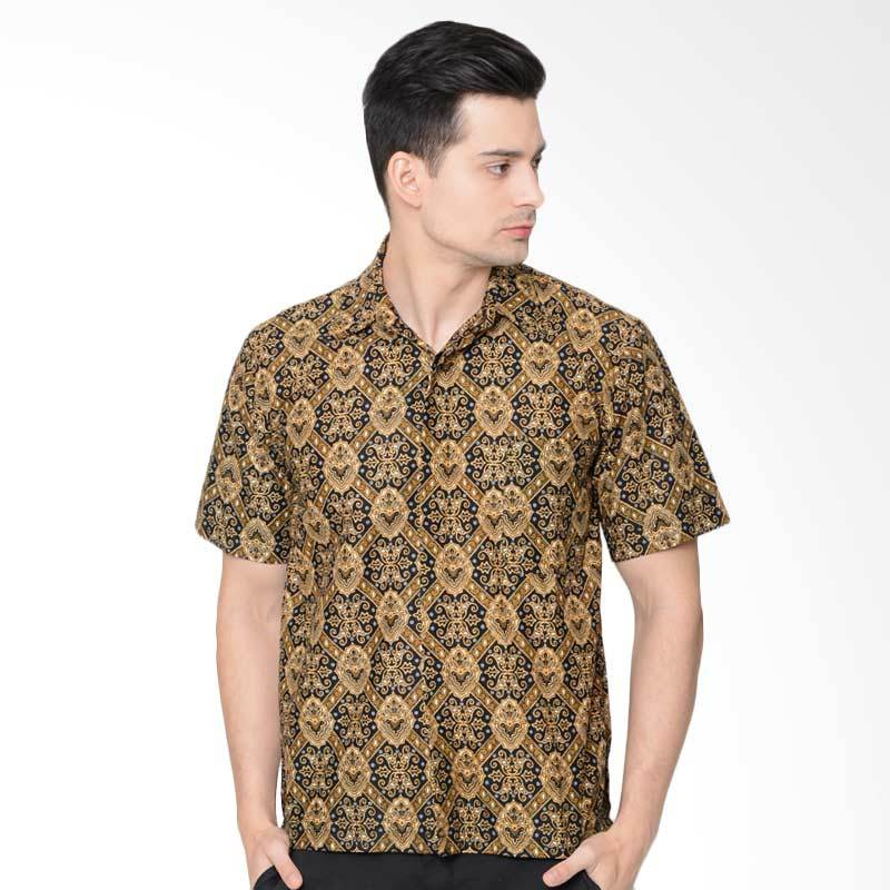 Jening Batik Short Sleeve Batik Pria - Brown [HR-051]