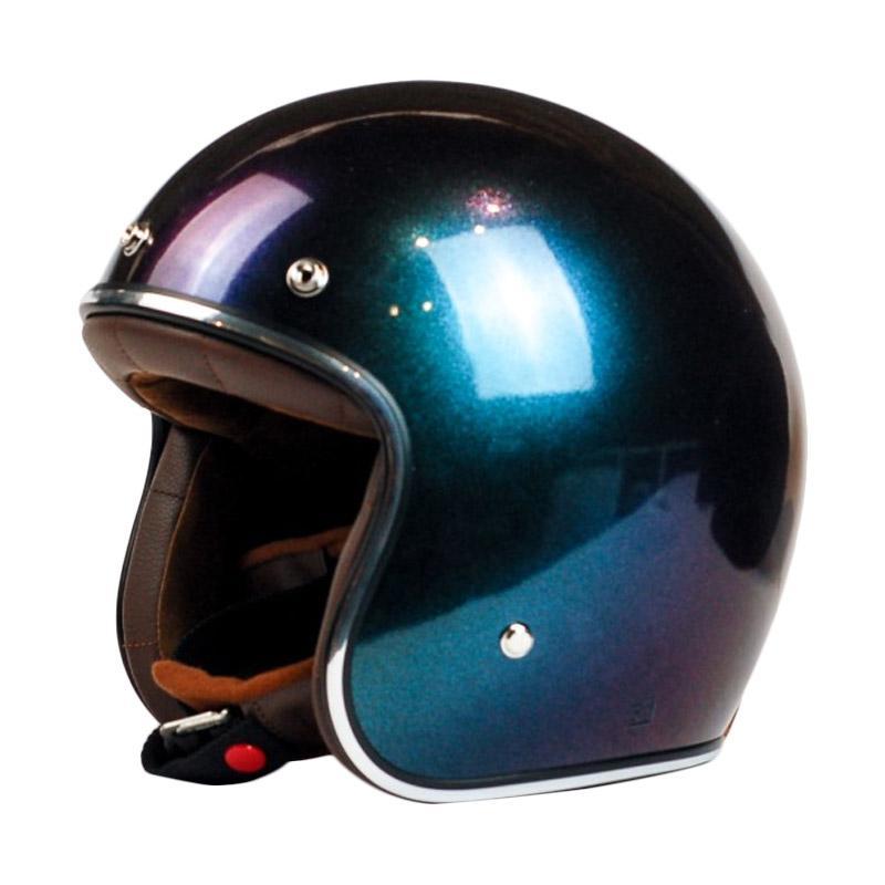 AGYO Helmet SS Chameleon Padding Helm Half Face - Blue Red Gloss Black Brown