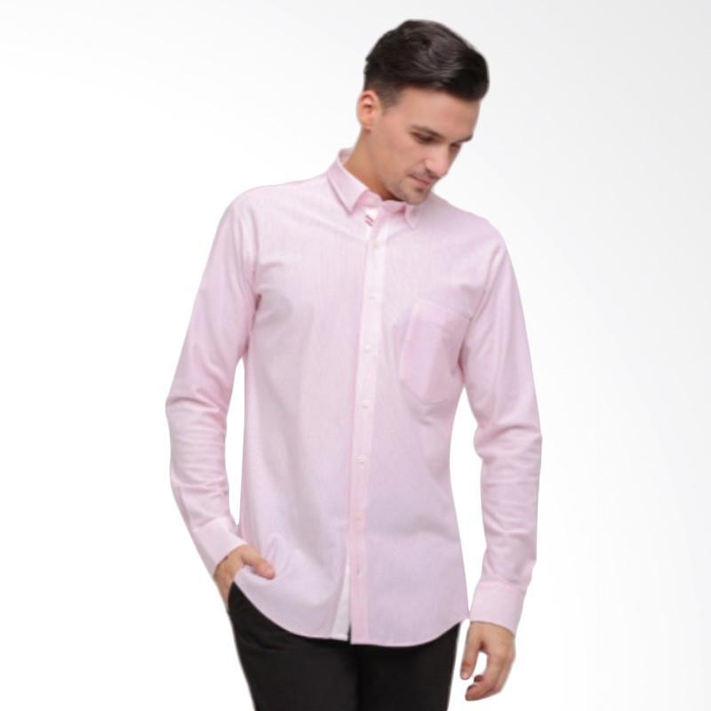 GT Man Long Sleeves Shirt Kemeja Pria - Pink [KGT016PK]