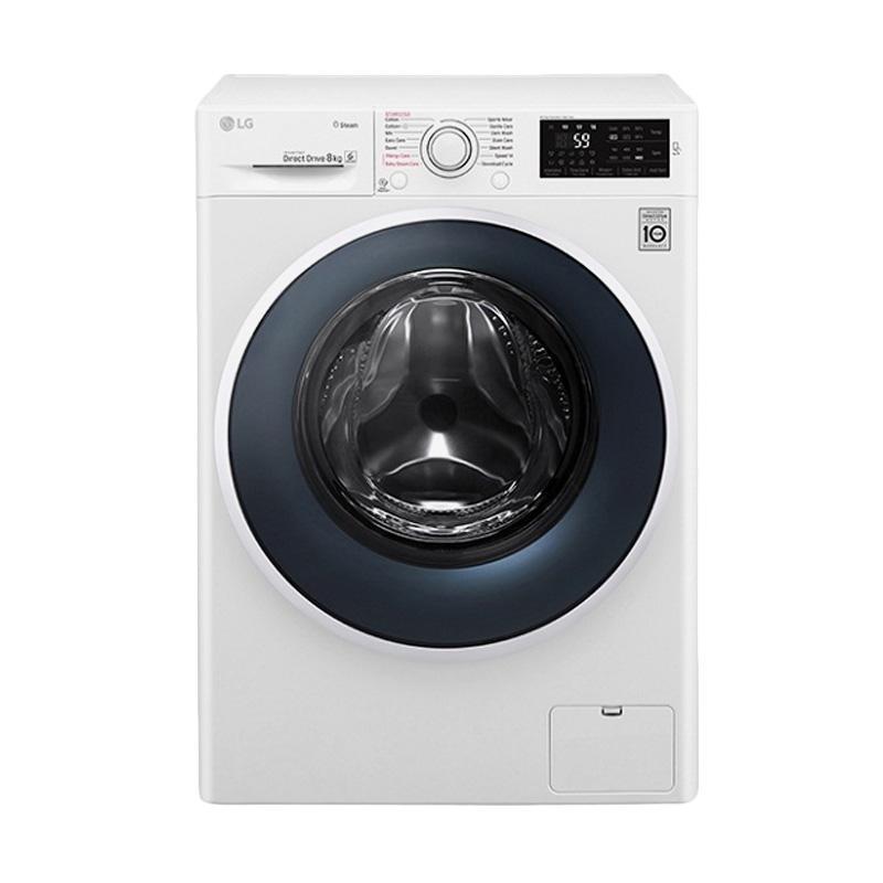 LG FC-1408S4W Mesin Cuci -  Blue White [Front Loading/ Inverter/ 8 Kg]