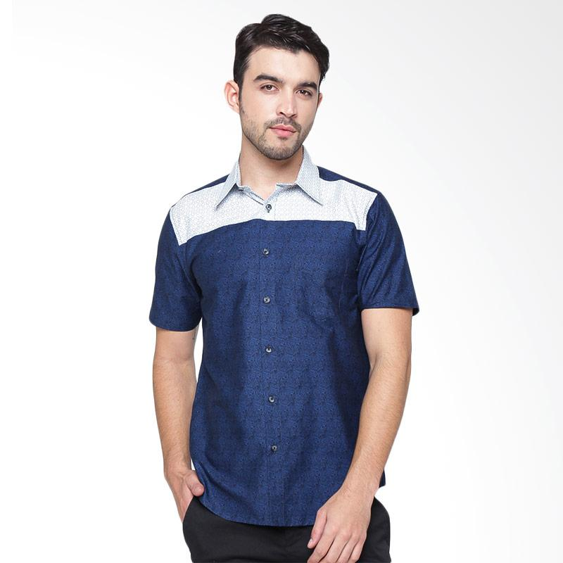 A&D Fashion Mens Shirt Short Sleeve Kemeja Pria - Blue [MS 745A]