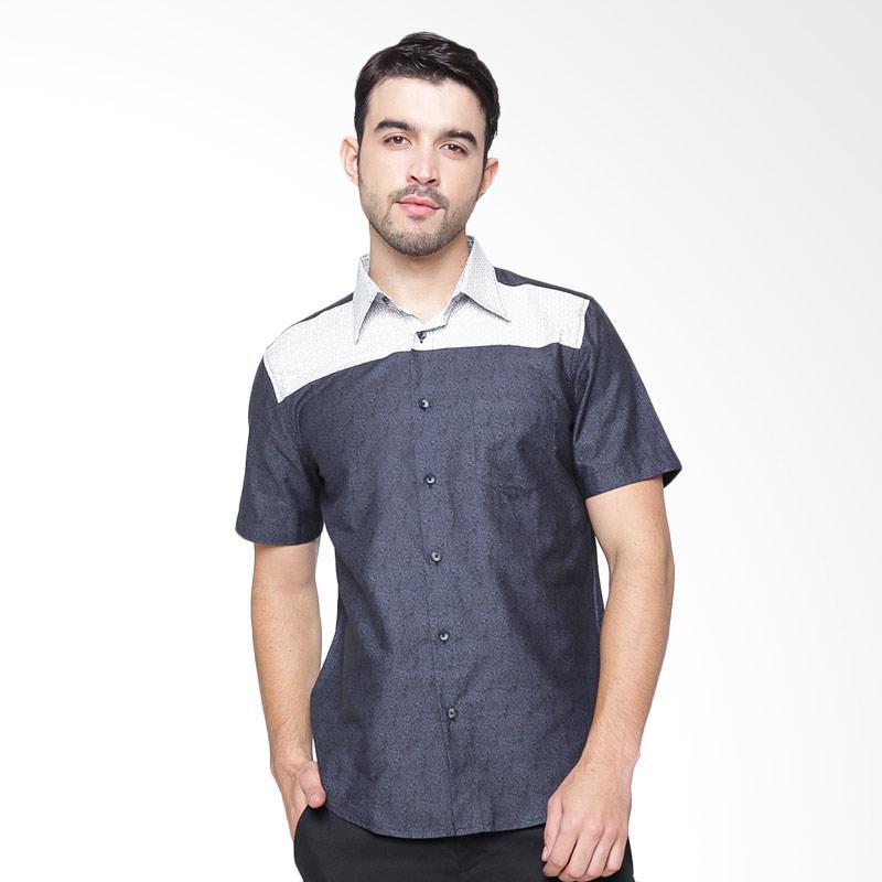 A&D Fashion Mens Shirt Short Sleeve Kemeja Pria - Dark Grey [MS 745B]