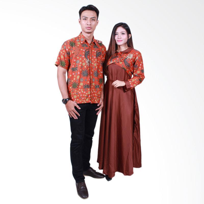Batik Putri Ayu Solo SRG500 Sarimbit Gamis Batik Couple - Orange