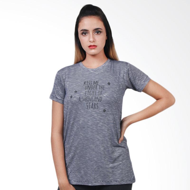 Boontie Salur Kiss Me T-Shirt Wanita - Navy