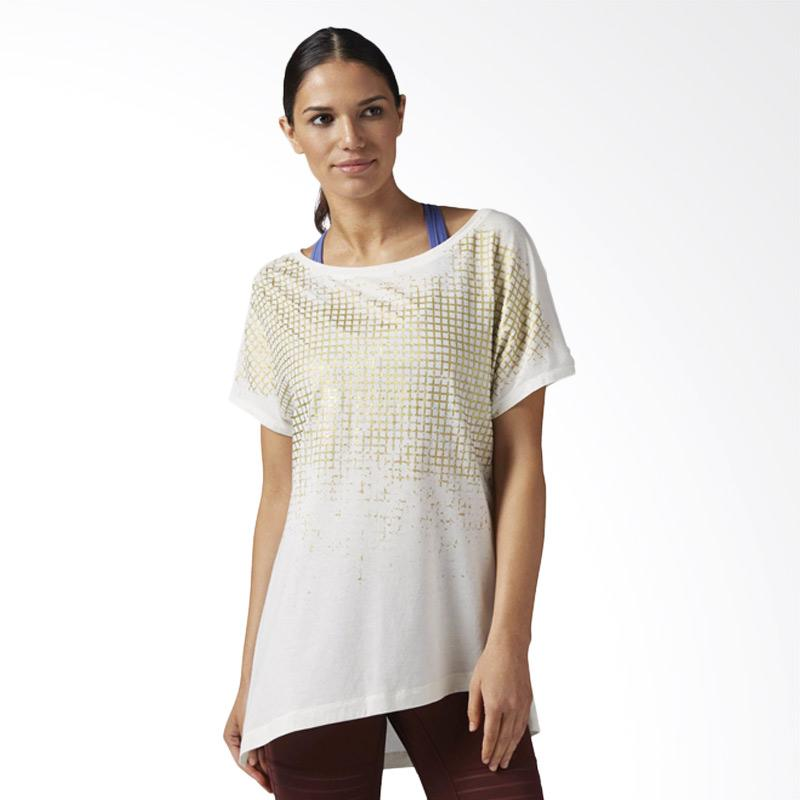 Reebok Grid Print Tee Chalk Baju Olahraga Wanita - White [BQ5831]