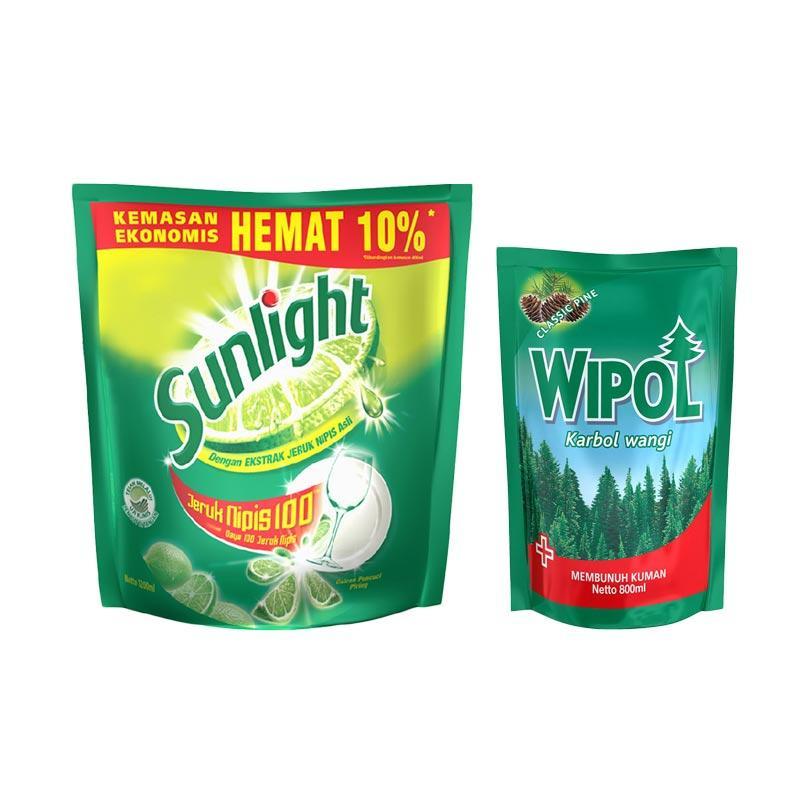 SUNLIGHT Lime Refill [1200 mL] dan Wipol Karbol Wangi Classic Pine Pouch [800 mL]