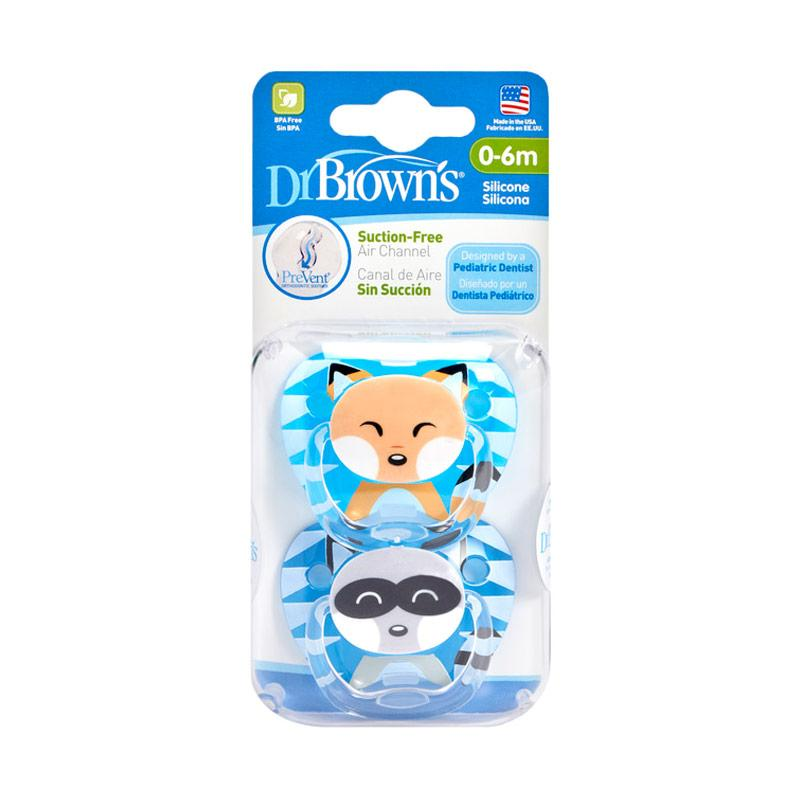 Dr.Brown's Boy Prevent Printed Shield Pacifier Stage 1 Animal Faces Dot Bayi [0-6 M/ 2 Pack]