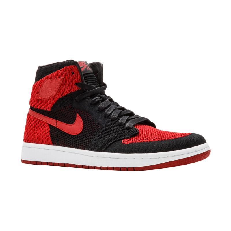 harga NIKE Men Air Jordan 1 Retro Flyknit Bred Sepatu Sneakers Pria - Black  Red   6906e2ec7d