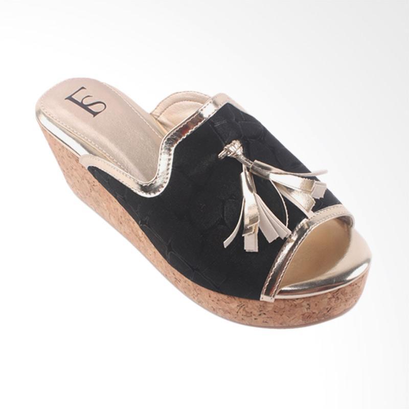 harga Farish Alesia Sandal Wedges Wanita - Black Blibli.com