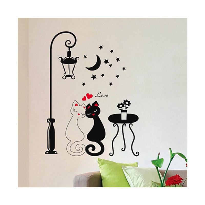 bluelans bluelans diy home decoration couple cats removeable wall art vinyl sticker wallpaper full06