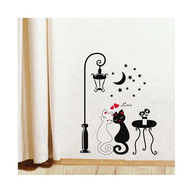 bluelans bluelans diy home decoration couple cats removeable wall art vinyl sticker wallpaper full08