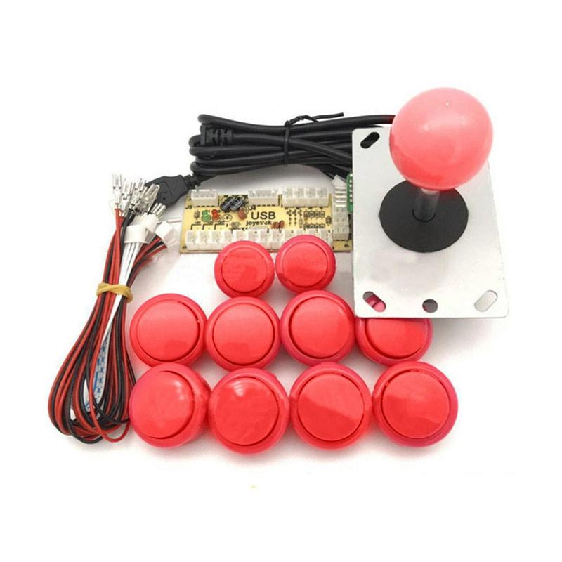 Bluelans DIY Arcade Game Controller Push Buttons Joysticks USB Encoder  Board Cable Kits - Red
