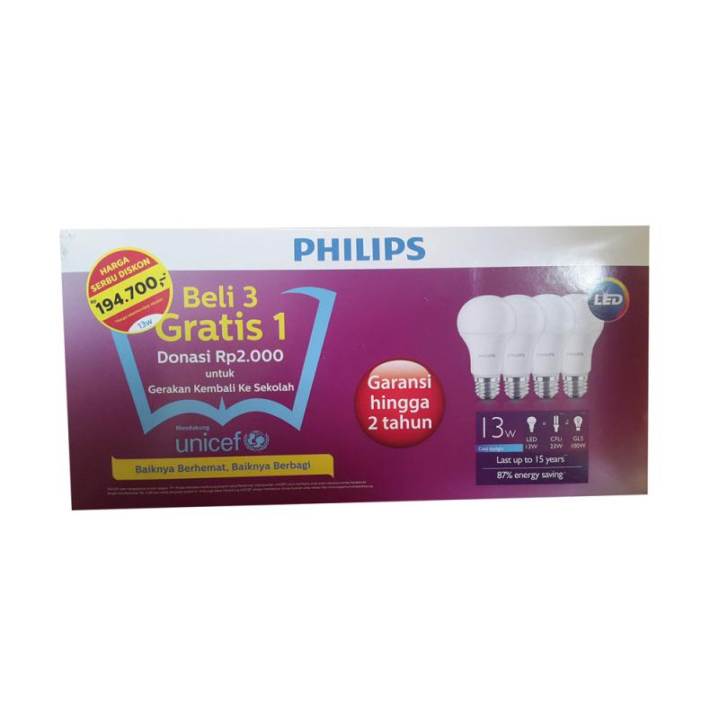 Philips Paket Lampu LED [13 watt/4 pcs]
