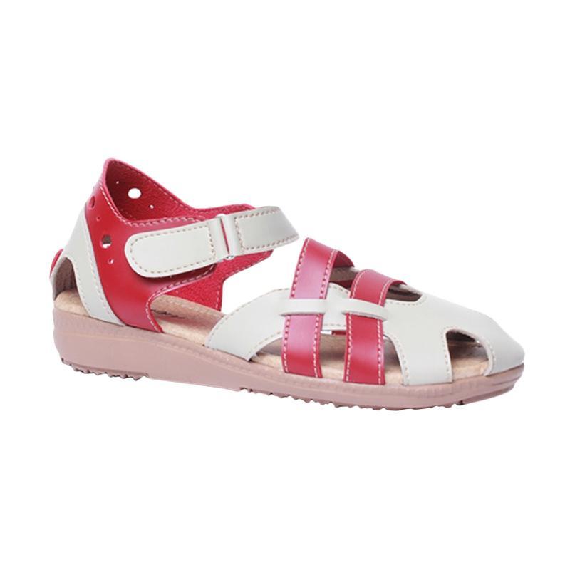harga Giov CR 24 Sandal Flat Wanita - Red Cream Blibli.com