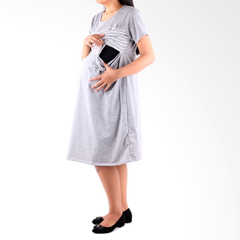Gambar produk Fashion Wanita HMILL 1190 Baju Hamil Dres Hamil Abu muda harga .