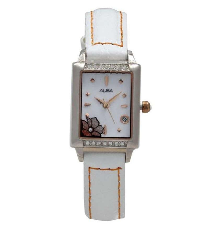 Jam Tangan Wanita Alba Original AXT397 White Leather AXT397X1