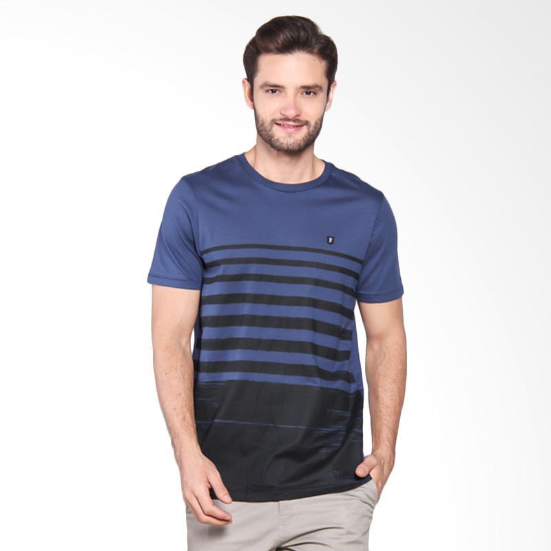 Famo Striped Basic Casual Tee - Blue [507051712]