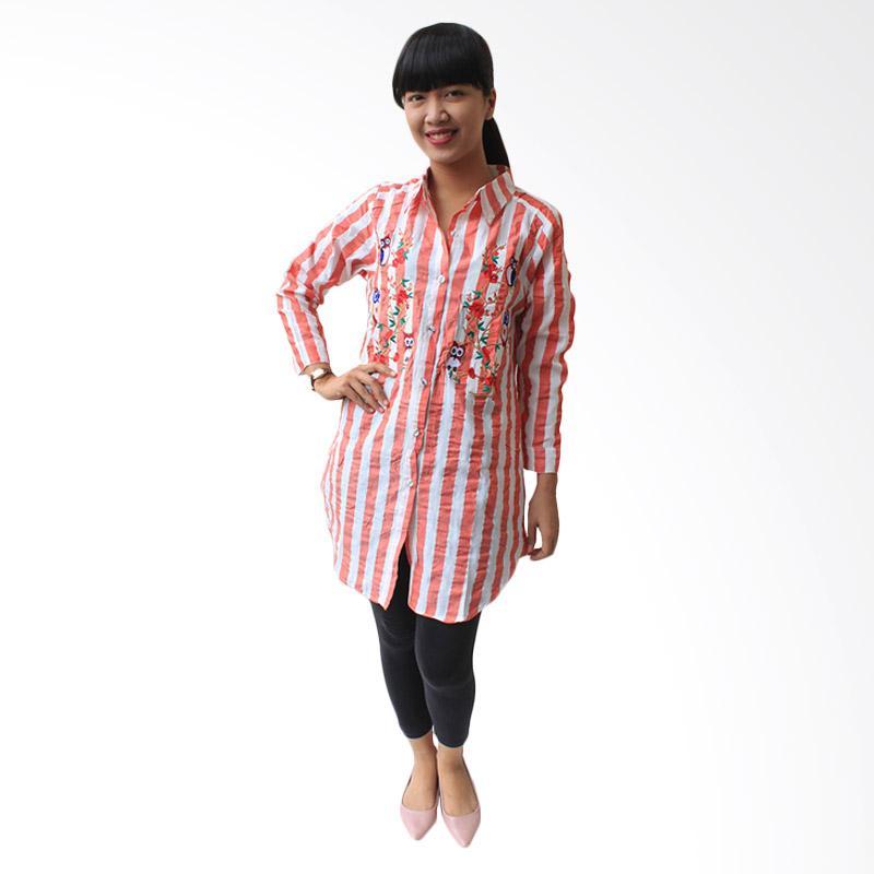 Aily K6834 Tunik Wanita Stripe Chic Blouse - Merah